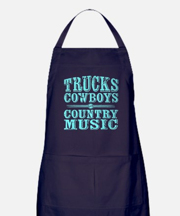 Trucks, Cowboys, and Country Music Apron (dark)