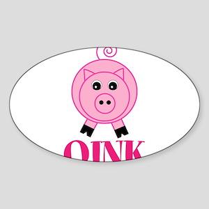 OINK Cute Pink Pig Sticker
