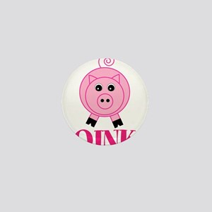 OINK Cute Pink Pig Mini Button