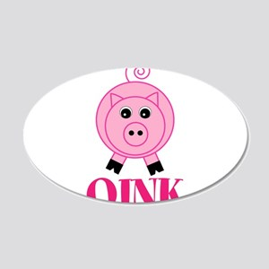 OINK Cute Pink Pig Wall Decal