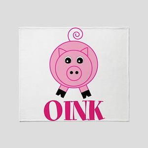 OINK Cute Pink Pig Throw Blanket