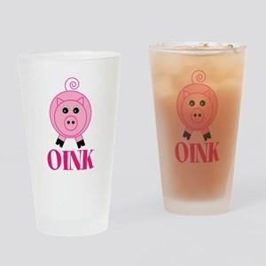 OINK Cute Pink Pig Drinking Glass