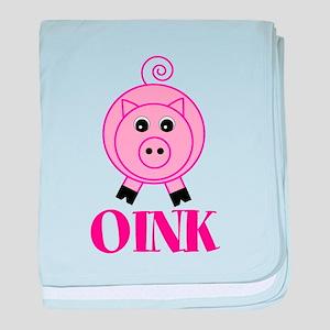 OINK Cute Pink Pig baby blanket