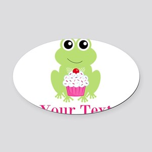 Personalizable Cupcake Frog Oval Car Magnet