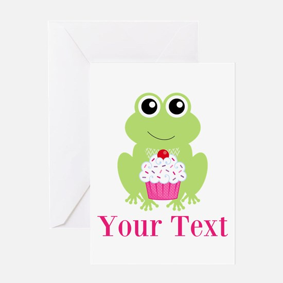 Personalizable Cupcake Frog Greeting Cards