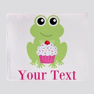 Personalizable Cupcake Frog Throw Blanket