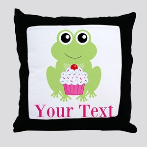 Personalizable Cupcake Frog Throw Pillow