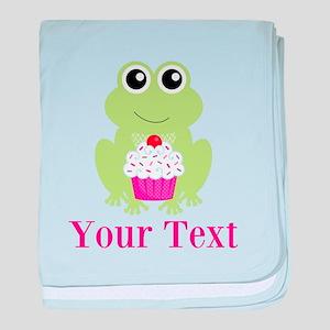 Personalizable Cupcake Frog baby blanket