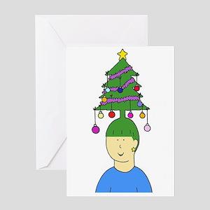 Christmas tree hair. Greeting Cards