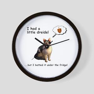 Hanukkah Dreidel Cat Wall Clock
