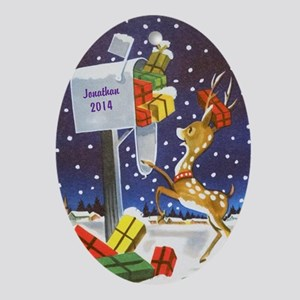 Personalized Reindeer Checking Ornament (oval)