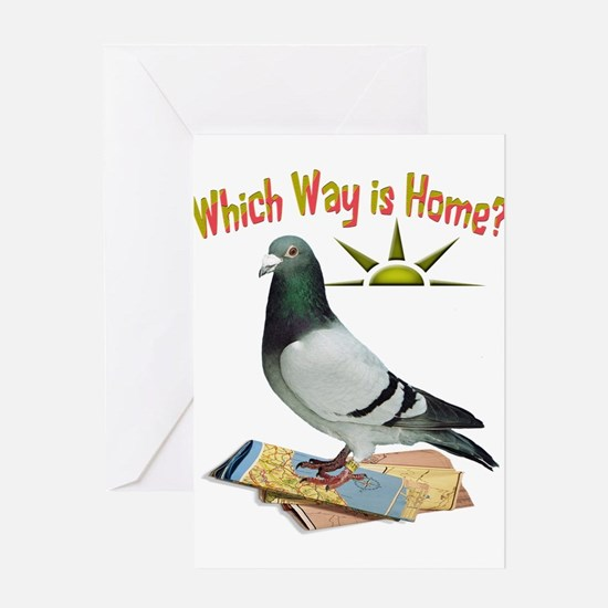 Which Way is Home? Fun Lost Pigeon Art Greeting Ca