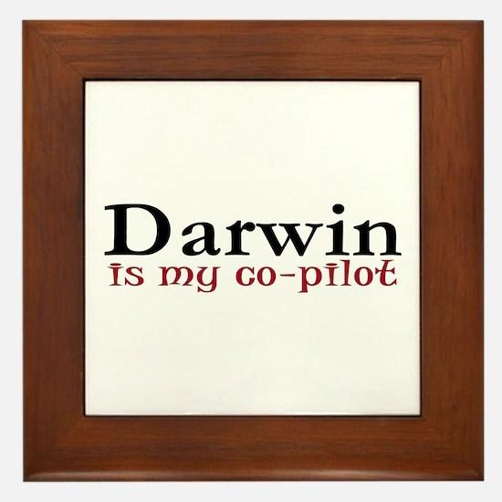 Darwin is my co-pilot Framed Tile