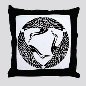 Circle of three cranes Throw Pillow