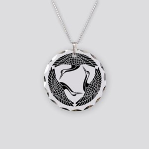Circle of three cranes Necklace Circle Charm