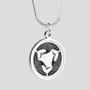 Circle of three cranes Silver Round Necklace