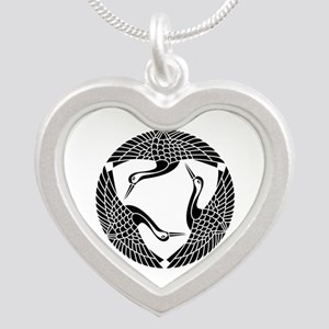 Circle of three cranes Silver Heart Necklace