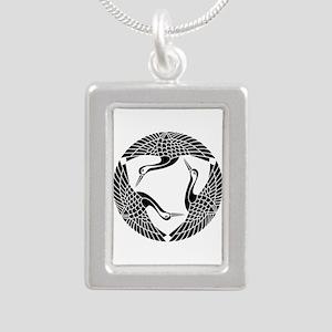 Circle of three cranes Silver Portrait Necklace