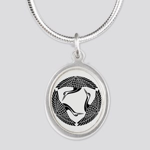Circle of three cranes Silver Oval Necklace