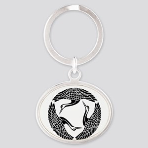 Circle of three cranes Oval Keychain