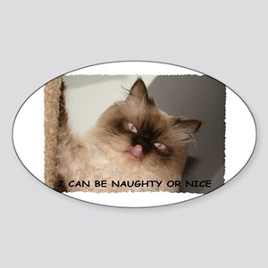 I CAN BE NAUGHTY OR NICE Oval Sticker