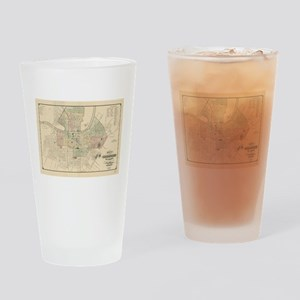 Vintage Map of Nashville Tennessee Drinking Glass