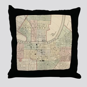 Vintage Map of Nashville Tennessee (1 Throw Pillow