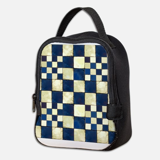 Cracked Tiles - Blue Neoprene Lunch Bag