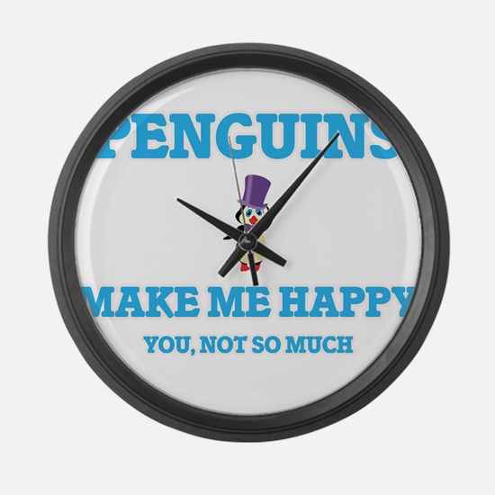 Penguins Make Me Happy Large Wall Clock