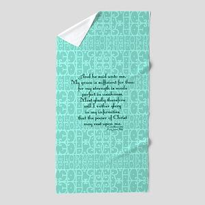 2 Corinthians 12:9 green Beach Towel