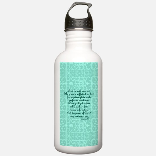 2 Corinthians 12:9 gre Sports Water Bottle