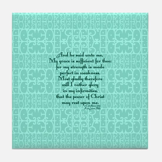 2 Corinthians 12:9 green Tile Coaster