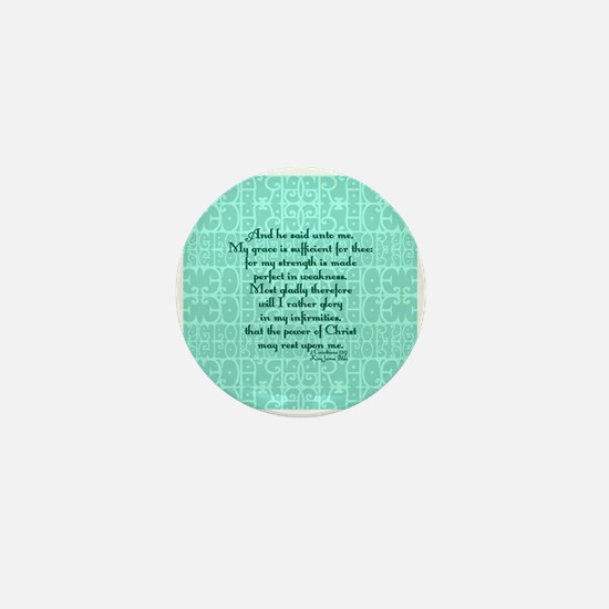 2 Corinthians 12:9 green Mini Button