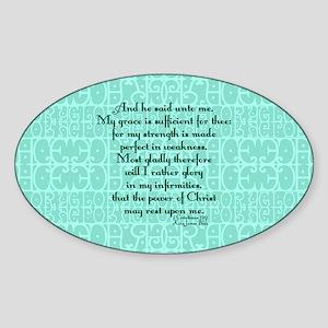 2 Corinthians 12:9 green Sticker (Oval)