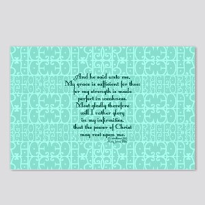 2 Corinthians 12:9 green Postcards (Package of 8)