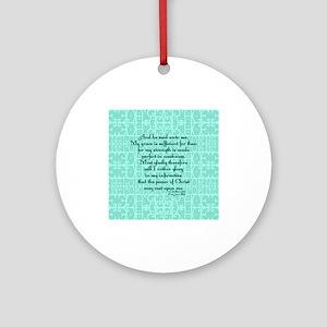 2 Corinthians 12:9 green Ornament (Round)