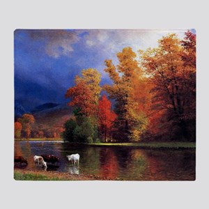 On the Saco, landscape painting Throw Blanket