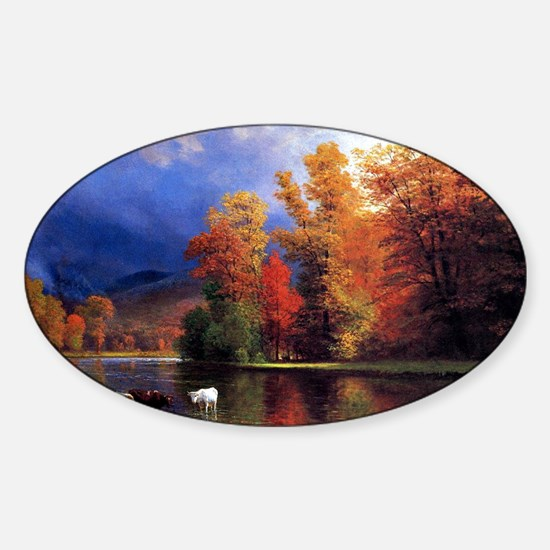 On the Saco, landscape painting Sticker (Oval)