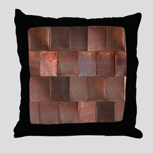 Distressed Copper Metal Woven Tiles Throw Pillow