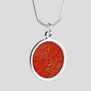Labyrinth of the Sun Silver Round Necklace