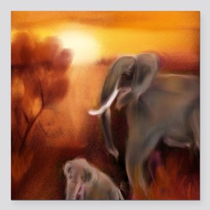 """Elephants by The Waterho Square Car Magnet 3"""" x 3"""""""