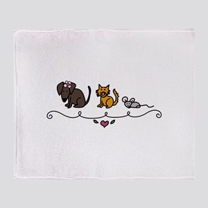 Cat Mouse Dog Friends Animals Pets Throw Blanket