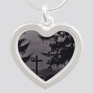 Cross in B & W Silver Heart Necklace