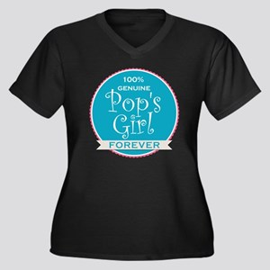 100% Pop's G Women's Plus Size V-Neck Dark T-Shirt