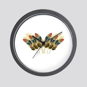 Fall Color Feathers Wall Clock