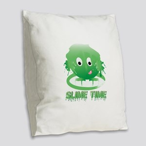 Slime Time Burlap Throw Pillow