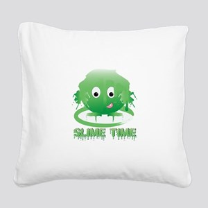 Slime Time Square Canvas Pillow
