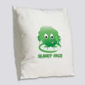 Simley Face Burlap Throw Pillow