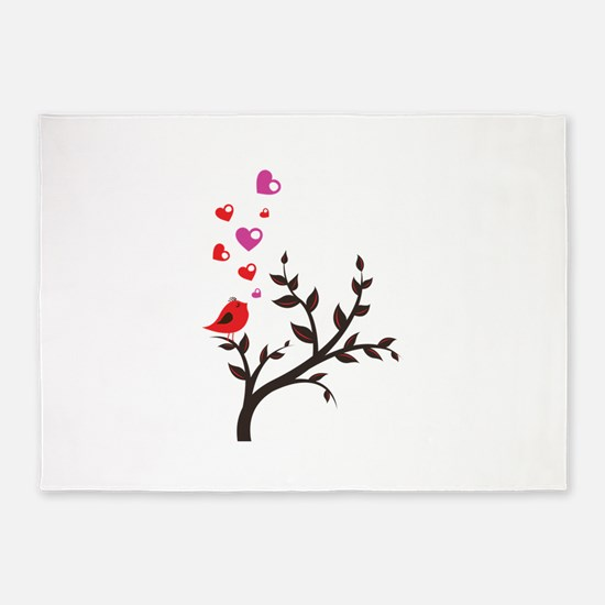 Love Song Bird Tree Valentines 5'x7'Area Rug