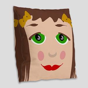 Doll Face Burlap Throw Pillow